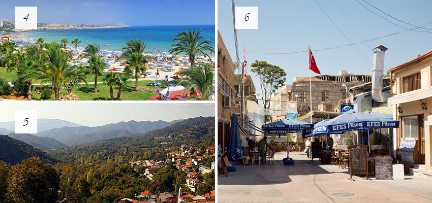 Areas of Cyprus: Famagusta, Troodos and Nicosia
